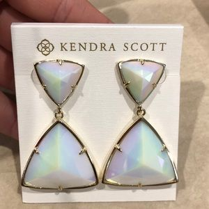 Kendra Scott Earrings - white iridescent with gold